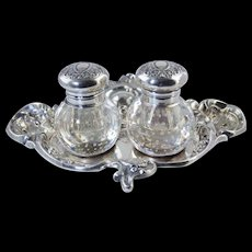 c1900 Art Nouveau Mauser Sterling & Pairpoint Controlled Bubble Glass Inkwell Ink Stand Antique