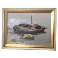 "Alexei Stepanov (Russian 1858-1923) Oil Painting Shore/Boats ""Early Morning, Caspian Sea"""