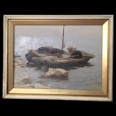 "Alexei Stepanov (Russian 1858-1923) Oil Painting Shore/Boats ""Early Morning, Caspian Sea"""