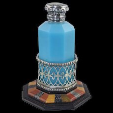 Rare Antique Octagonal Blue Opaline Perfume Bottle with Specimen Stone & Silver Holder/Base