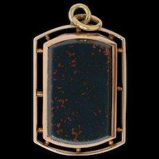 Victorian 14k Rose Gold & Bloodstone Locket Pendant w/Photo 10.1g