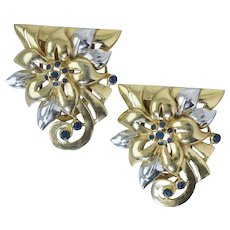 Vintage 1930s-40s Retro Art Deco Two Tone Dress Clips Flowers w/Blue Rhinestones
