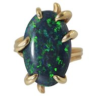 Vintage Natural Black Opal 14k Ring 10 Carats Oval 21.5mm x 13mm x 4.5mm $10,000 Appraisal Size 7.25