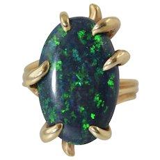 Vintage Natural Black Opal 14k Ring 10 Carats Oval 21.5mm x 13mm x 4.5mm $10,000 Appraisal Size 7.25