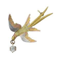 Antique Victorian 14k Four Gold Pheasant Bird Pin Brooch w/Mine Cut Diamond Drop .25ct+