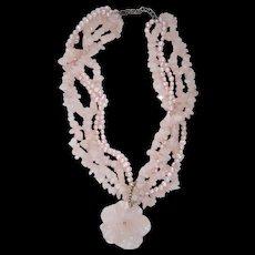 Carved Rose Quartz Pink Pearl & Sterling Silver Flower Pendant Torsade Necklace