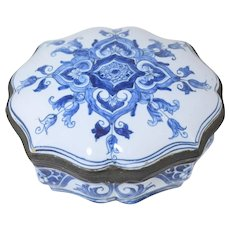 Antique Delft Table Snuff Box Faience Hinged Signed Trinket Box