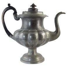 Large American Pewter Teapot Crossman West & Leonard c1830 Antique 10 5/8""