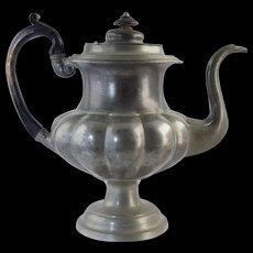 "Large American Pewter Teapot Crossman West & Leonard c1830 Antique 10 5/8"""