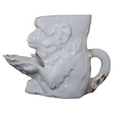 "Antique German Figural ""Monkey Holding Shell"" Scuttle Shaving Mug Porcelain"