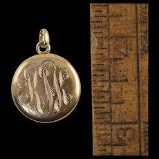 "Antique 10k Gold Locket Victorian c1900 place for 2 photos 13/16"" 3.9g"