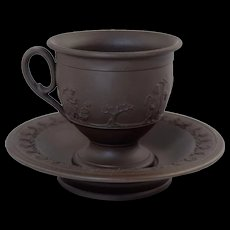 Antique 19thC English Dark Brown Basalt Cup & Saucer Neo-Classical Cupid Relief Scene Adams
