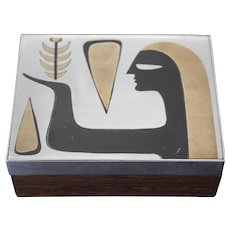 Los Castillo Taxco Modernist Silver Box Mixed Metal Onyx Rosewood Mid Century