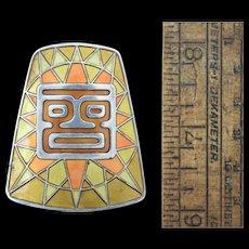 """Hroar Prydz Sterling & Enamel """"Sun God"""" Modern Silver Pendant/Pin Norway 925"""