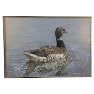 Rod Arbogast 1977 Original Watercolor of a Brant Goose Wildlife Hunt Scene