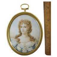 """Antique French Miniature Portrait signed """"Vestier 1771"""" Gilt Bronze Frame"""