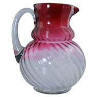 Rare Northwood Rubina Threaded Swirl Jewel Pattern Glass Water Pitcher