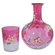 "Victorian Cranberry Rubina Glass & Enamel Carafe & Tumbler ""Tumble Up"" Antique Coin Spot Optic"