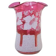Victorian Cranberry Glass & White Coralene Vase w/Polished Pontil Antique