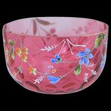 Victorian Cranberry Glass & Enamel Coin Spot Optic Finger Bowl Antique