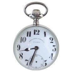 "Rare Antique Sterling Silver & Glass Ball Clock.. Bailey Banks & Biddle 19th Century 2.5"" Globe"