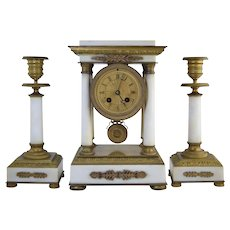 Antique French Empire Style White Marble & Bronze Portico Clock Set Diminutive Size