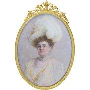 Cornelia Faber Fellows (1857-1925) Miniature Portrait of Grande Dame Socialite PA/Kansas c1890