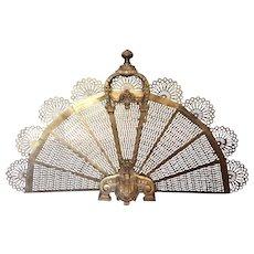 "Antique 19thC French Bronze & Brass Folding Fan Fire Screen 34"" Wide 21"" Tall"