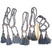Antique French Tassel Tiebacks Blue Set of 5 Tie Backs for Drapery