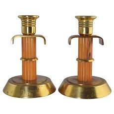 "Art Deco Bakelite & Brass Candlesticks 5 1/4"" Tall Vintage Marbled Amber Color"