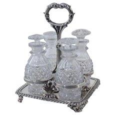Matthew Boulton Georgian Old Sheffield Silver Condiment Cruet Set w/Cut Glass Bottles