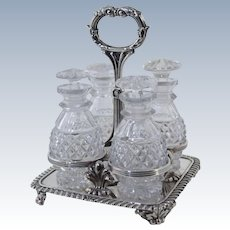 Matthew Boulton Georgian Old Sheffield Silver Condiment Cruet Set w/Cut Glass Bottles