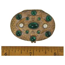 Antique Jeweled Czech Pill Box w/Mirror Art Deco Brass Hammered