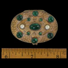 Antique Jeweled Czech Pill Box w/Mirror Art Deco Brass Hammered