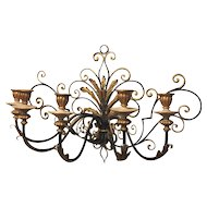 Vintage Italian Five Arm Candle Sconce Metal & Wood