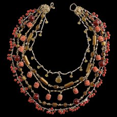 Stephen Dweck 5 Strand Gemstone Necklace Coral Agate Whisky Quartz & Bronze