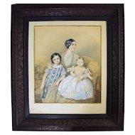 1850 Mother with Children Watercolor Portrait by Theodore Schlopke (German 1812-1878)