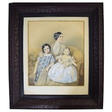 1850 Mother with Children Watercolor Portrait by Theodore Schlopke (German 1812-1878)