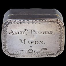 1812 Masonic Georgian Sterling Silver Nutmeg Grater Box by Joseph Wilmore
