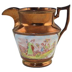 c1820 Antique Copper Luster Pitcher w/Bat Printed Scenes & Yellow decor Lustre