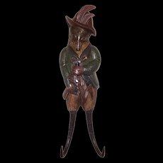 Vintage Black Forest Carved Fox Hunter Whip Hook Oak & Horn Hunting