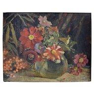 Edith Jagger (British 1880-1977) Flower Still Life Oil on Canvas