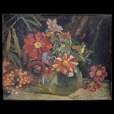 Edith Jagger (British 1880-1977) Flower Still Life Oil on Canvas