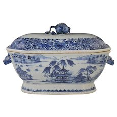 Antique Chinese Blue & White Covered Tureen Qianlong Dynasty w/Pomegranate Finial & Boars Head Handles