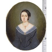 """Miniature Portrait of Lady with Cameo Jewelry c1830s Signed """"Pomard"""" Continental"""