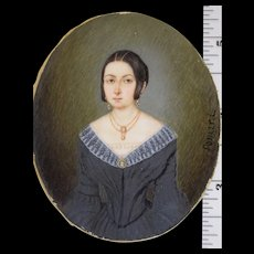 "Miniature Portrait of Lady with Cameo Jewelry c1830s Signed ""Pomard"" Continental"