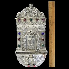 Antique 800 Silver Holy Water Font.. Jeweled German/Hanau 141.4g