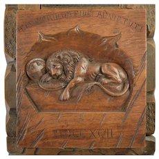 "Antique ""Lion of Lucerne"" Carved Swiss Book Rack Bookends Black Forest Wood"