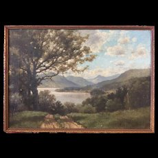 Robert M. Decker (American 1847-1921) Adirondack Landscape w/ Lake & Mountains painting