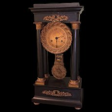 Antique French Empire Black Marble & Bronze Portico Column Clock